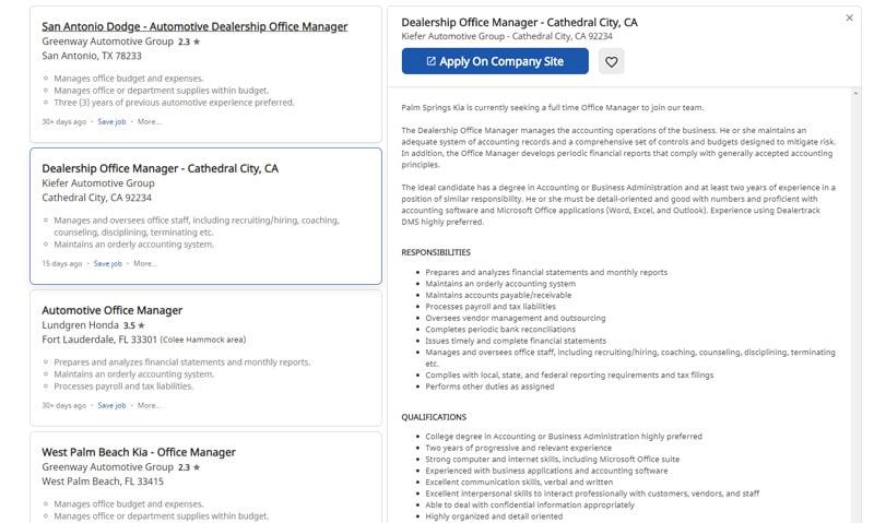 Example Car Dealership Office manager job description