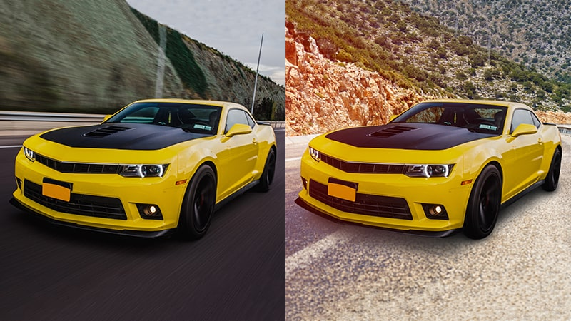 Before After Example Composite Car Images