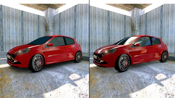 add glare in car image